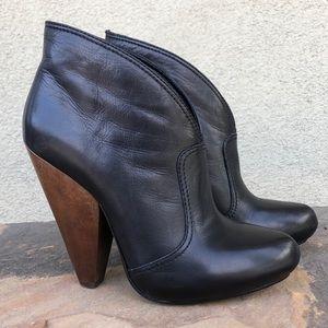 Ash leather wood heel ankle booties